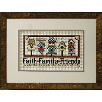 Photo of framed cross stitch Faith-Family-Friends Birdhouses THUMBNAIL