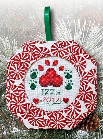 Octagonal Prefinished Christmas Ornament - Light Print Fabric