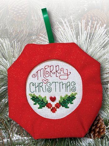 Octagonal Prefinished Christmas Ornament - Red Fabric