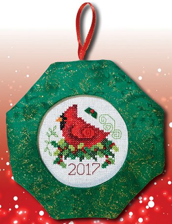 Octagonal Prefinished Christmas Ornament - Green Fabric (Assorted Prints)