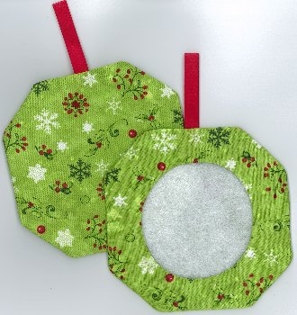 Octagonal Prefinished Christmas Ornament - Green Fabric (Assorted Prints) MAIN