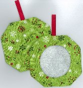 Octagonal Prefinished Christmas Ornament - Green Fabric (Assorted Prints) THUMBNAIL
