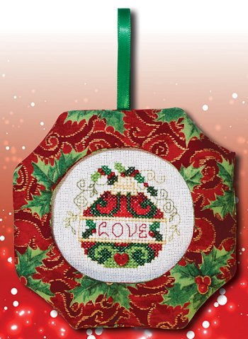 Octagonal Prefinished Christmas Ornament - Red Fabric (Assorted Prints)
