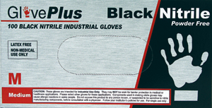 Glove GlovePlus Black 6mil Nitrile PF 100 count-Large