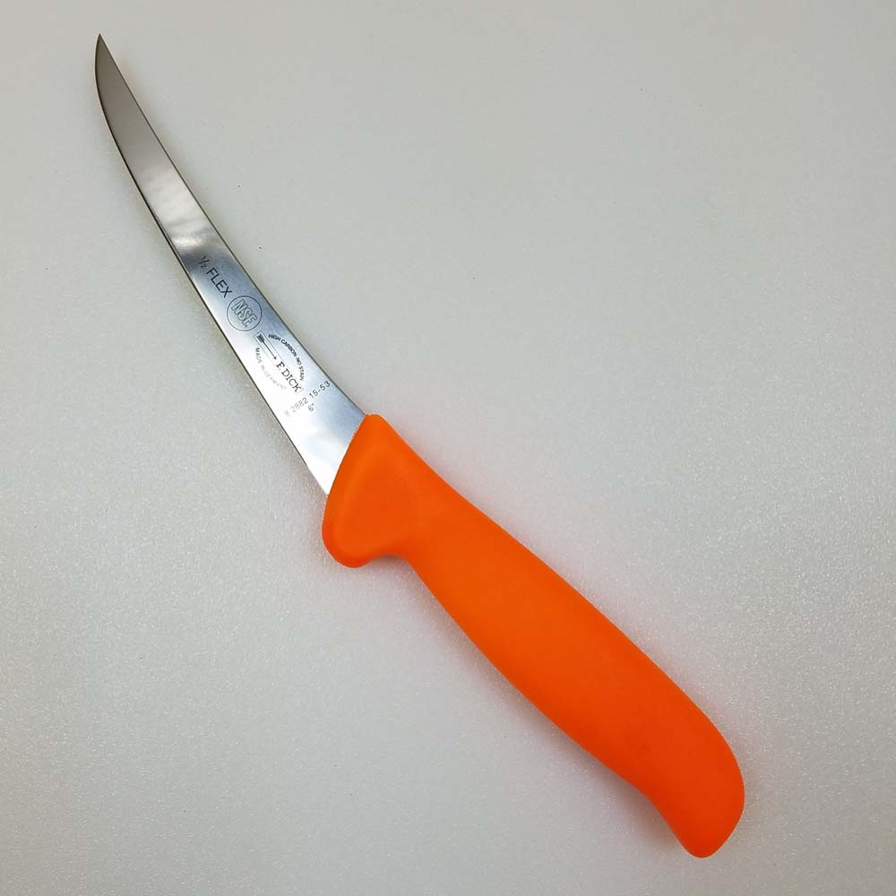 F Dick MasterGrip Semi-Flexible 6 Inch Curved Boning Knife Orange Handle LARGE