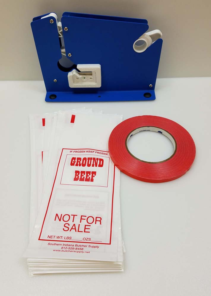 Ground Meat Packing Kit/ Painted Tape Machine, 200 1lb Ground Beef Bags
