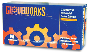 Glove Gloveworks Textured Latex PF 100 count - Med