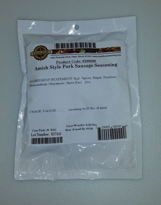 Excalibur Amish Style Pork Sausage Seasoning 8oz Bag Seasons 25 Pounds