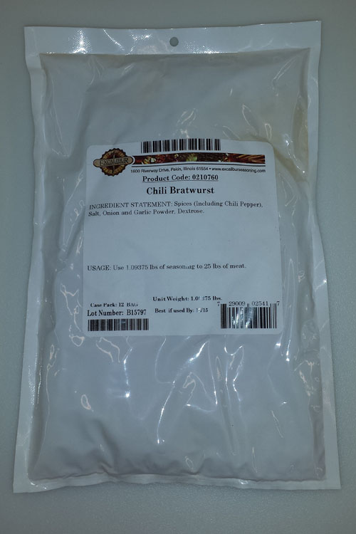 Excalibur Chili Bratwurst Seasoning Seasons 25lb
