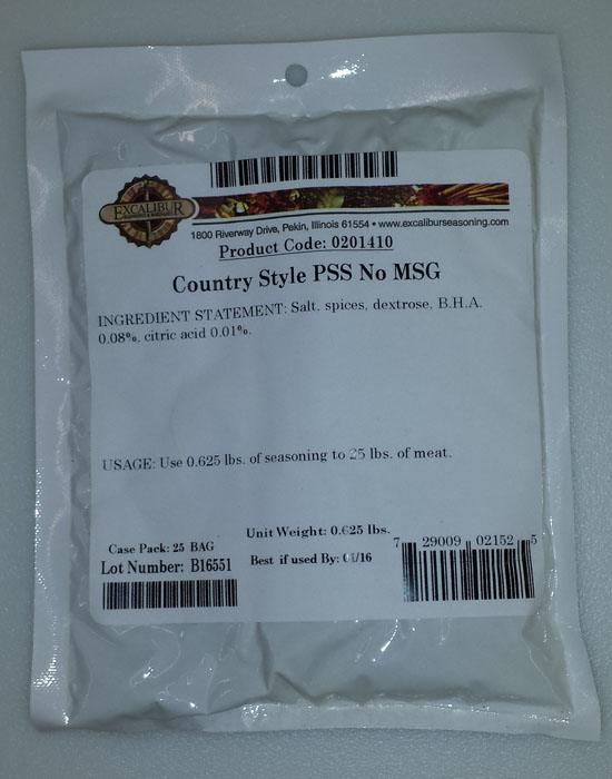Excalibur Country Style Pork Sausage Seasoning NO MSG Seasons (0201410)