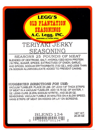 AC Leggs Teriyaki Jerky Seasoning Blend #134