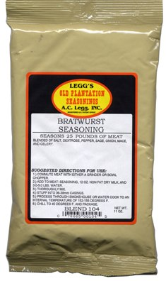 AC Leggs Bratwurst Seasoning Blend 104 Case of 24