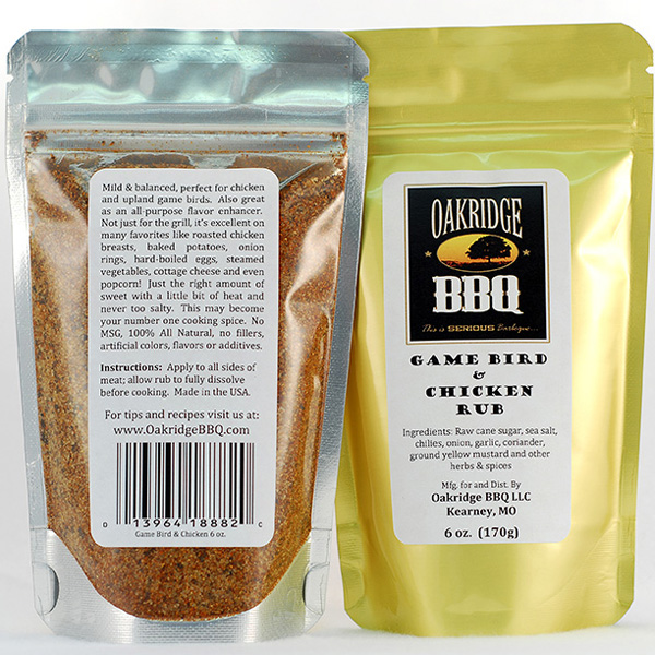 Oakridge BBQ Game Bird & Chicken Rub 6 OZ