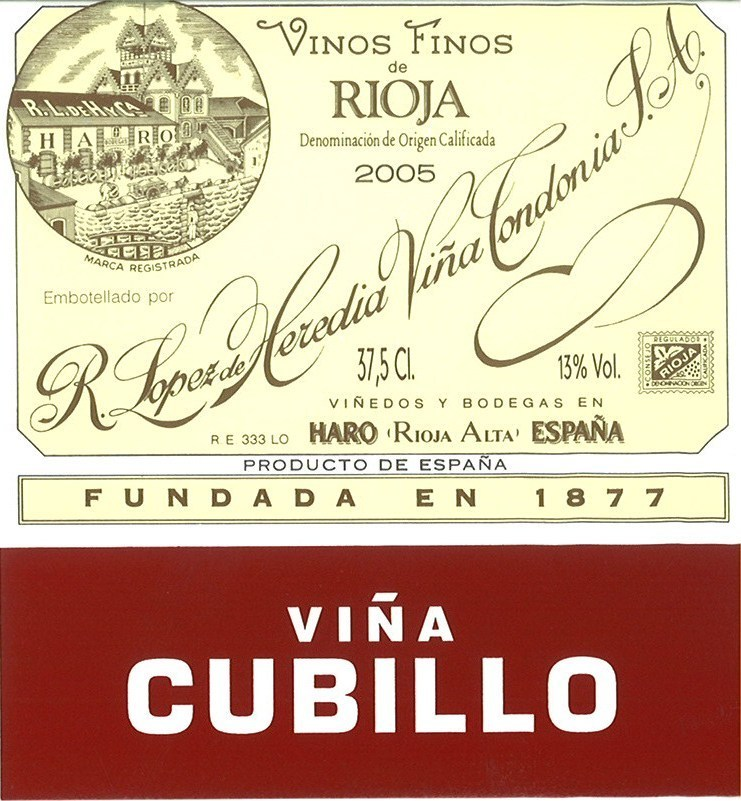 Wine Label - Lopez de Heredia, 2011 Viña Cubillo, Rioja, Spain THUMBNAIL