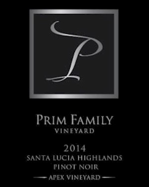 Wine Label Image: Prim Family 2014 Pinot Noir Santa Lucia Highlands, Apex Vineyard LARGE