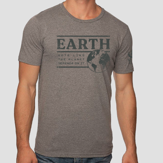 Earth Vote Like the Planet Depends on It Grey T-shirt LARGE