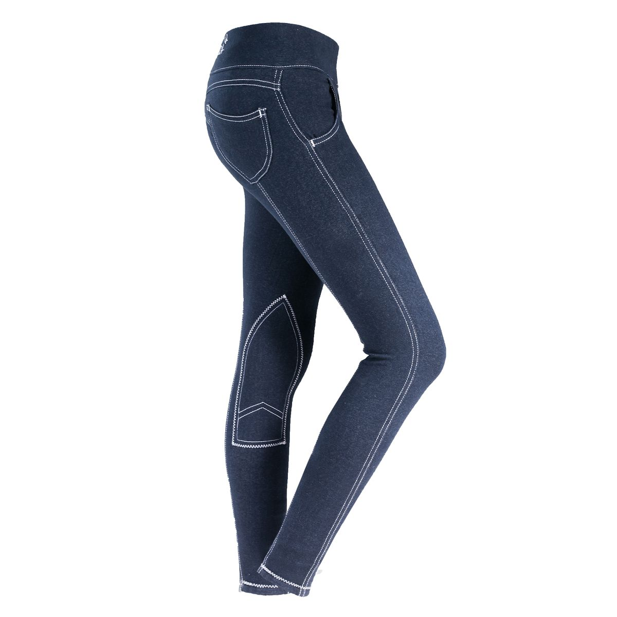 HorZe Paige Womens Pull-On Denim Look Breeches