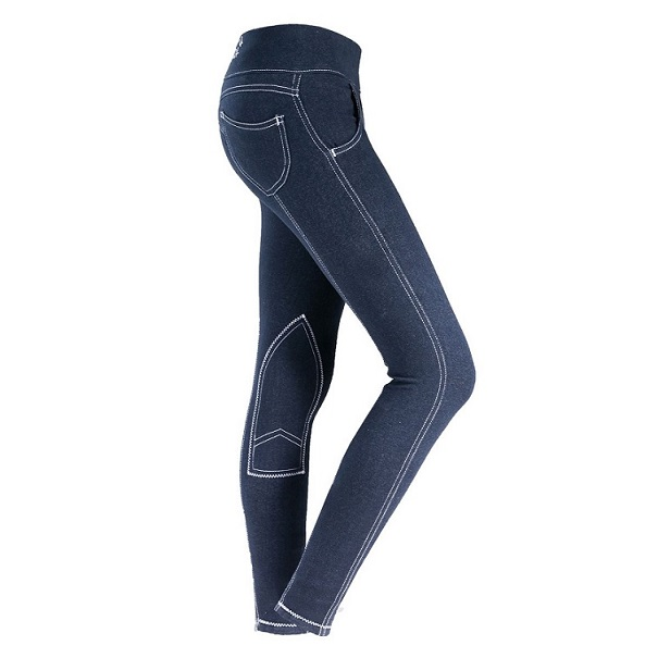 HorZe Paige Womens Pull-On Denim Look Breeches MAIN