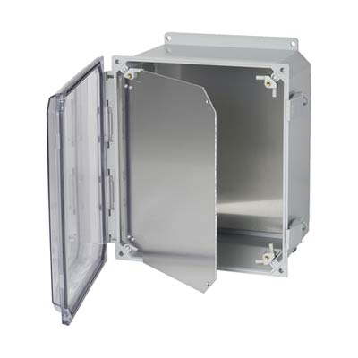Aluminum Hinged Front Panel for 10x8 Enclosures | HFPP108