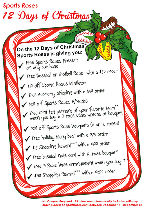 12 Days Of Christmas List.The Sports Roses 12 Days Of Christmas