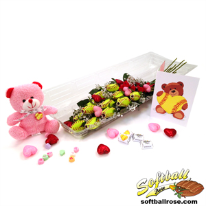 "Softball Rose Valentine's Day ""Grand Slam"" Bouquet (12 Roses) MAIN"