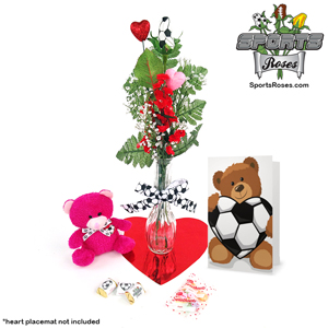Soccer Rose Valentine's Day Vase Arrangement MAIN