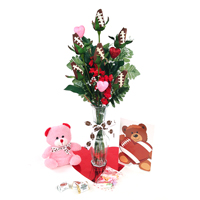 Football Rose Valentine's Day Vase Arrangement THUMBNAIL