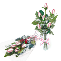 "Baseball Rose ""Home Run"" Bouquet - Half Dozen Baseball Roses THUMBNAIL"