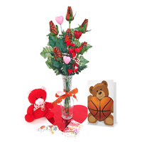 Basketball Rose Valentine's Day Vase Arrangement THUMBNAIL