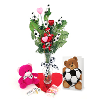 Soccer Rose Valentine's Day Vase Arrangement THUMBNAIL