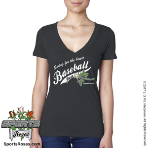 Baseball Rose V-Neck Shirt MAIN