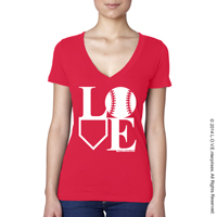 Baseball LOVE V-Neck T-Shirt THUMBNAIL