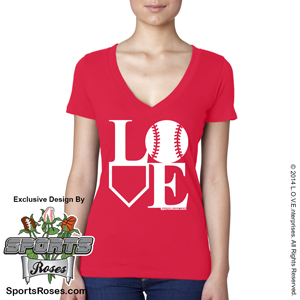 Baseball LOVE V-Neck T-Shirt MAIN