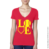 Softball LOVE V-Neck T-Shirt_THUMBNAIL