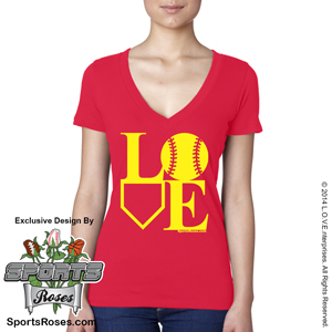 Softball LOVE V-Neck T-Shirt MAIN