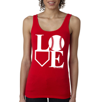 Baseball LOVE Ladies Jersey Tank Shirt THUMBNAIL
