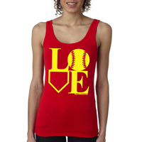 Softball LOVE Ladies Jersey Tank Shirt THUMBNAIL