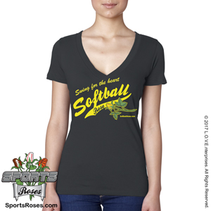 Softball Rose V-Neck Shirt_MAIN