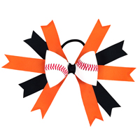 Handmade Baseball Hair Bow made from real baseball leather THUMBNAIL