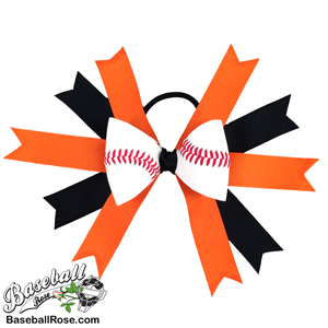 Baseball Hair Bow - Orange Black MAIN