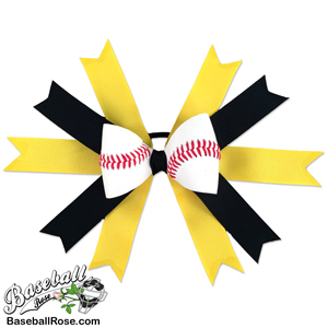 Baseball Hair Bow - Yellow Black MAIN