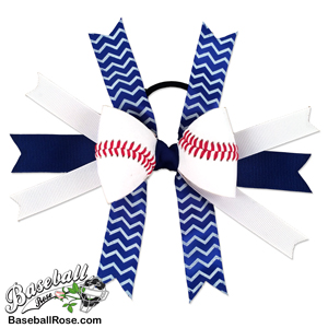 Baseball Hair Bow - Blue White Chevrons MAIN
