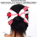 Baseball Hair Bow - Red White Chevrons SWATCH