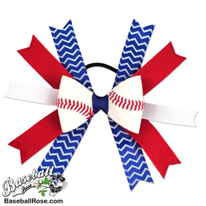 Baseball Hair Bow - Red Blue White Chevron MAIN