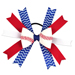 Baseball Hair Bow - Red Blue White Chevron SWATCH
