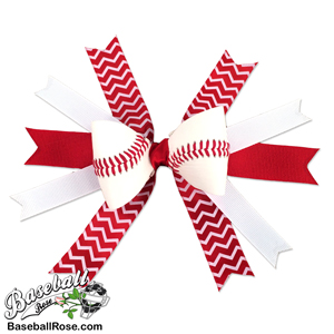 Baseball Hair Bow - Red White Chevrons MAIN