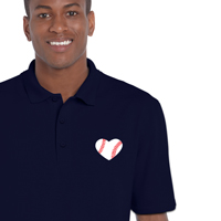 Baseball Heart Men's Polo Shirt THUMBNAIL