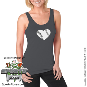 Baseball Heart Ladies Jersey Tank Shirt MAIN