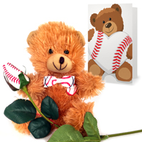 baseball rose teddy bear gift set THUMBNAIL