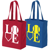 Baseball Softball LOVE Canvas Tote Bag THUMBNAIL